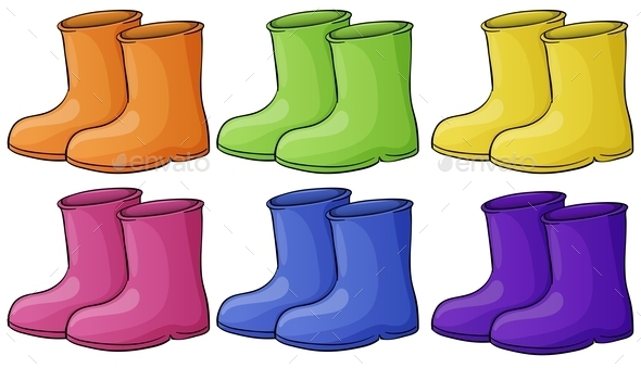 A Group of Colorful Boots - Man-made Objects Objects