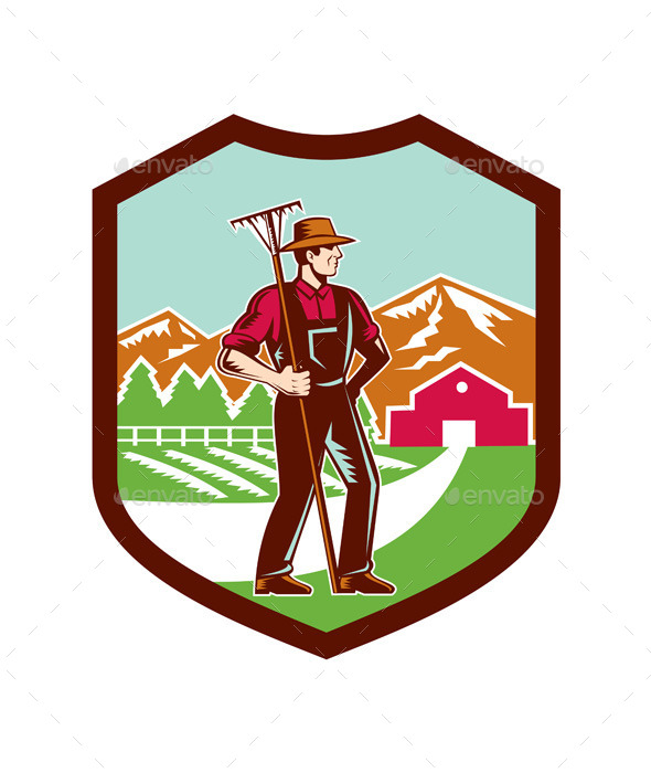 Organic Farmer Woodcut Shield - People Characters