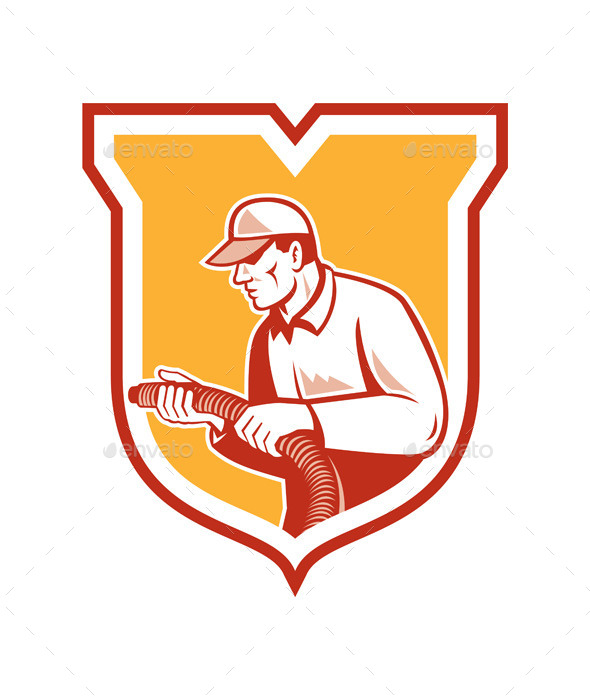 Home Insulation Technician Retro Shield - People Characters