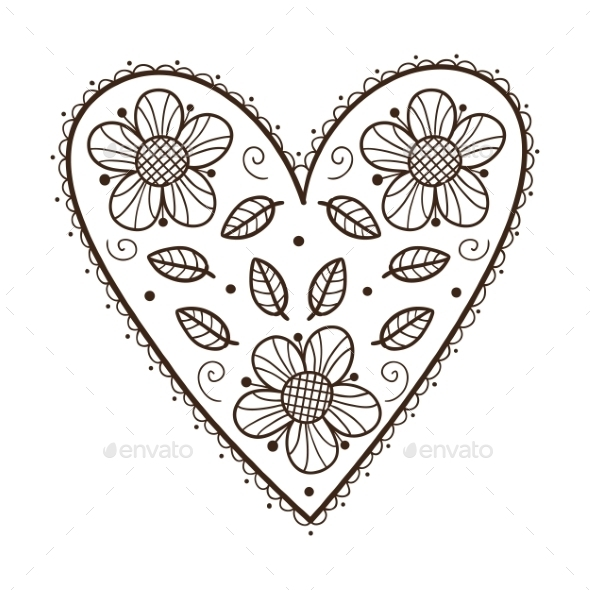 Heart with Leaves and Flowers. - Nature Conceptual