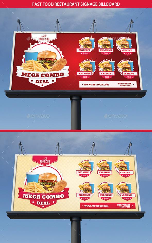 Restaurant Fast Food Signage Billboard - Signage Print Templates