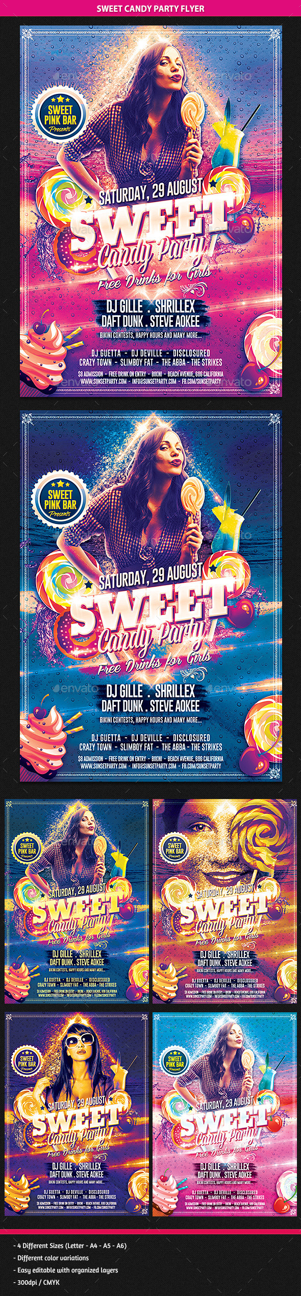 Sweet Candy Party Flyer - Clubs & Parties Events