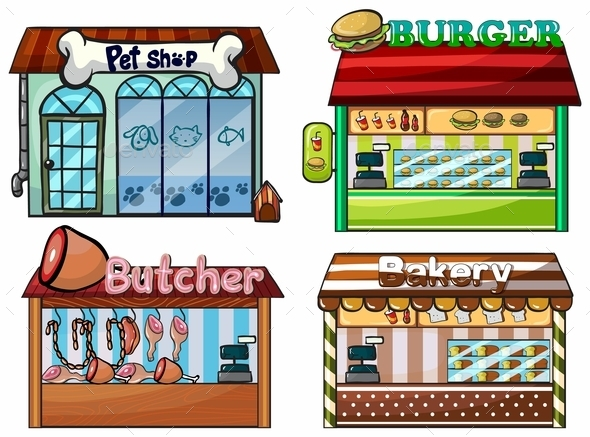 Petshop, Burger Stand, Butcher Shop, and Bakery - Buildings Objects