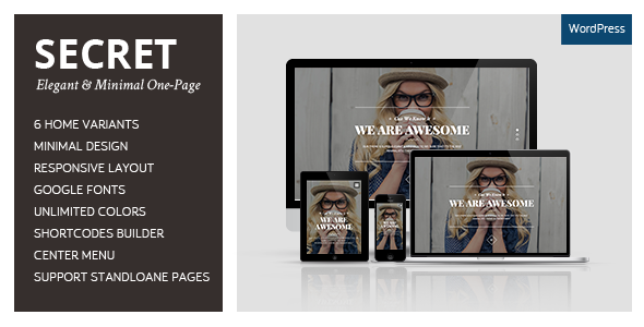 SECRET – Elegant & Minimal One-Page WordPress