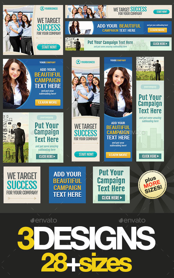 Corporate Web Banner Set Bundle 13 - Banners & Ads Web Elements