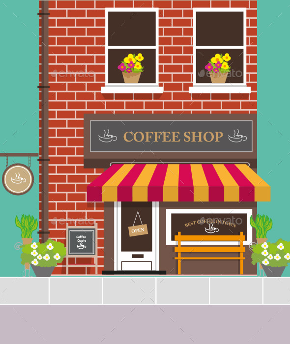 Front View of Coffee Shop - Buildings Objects