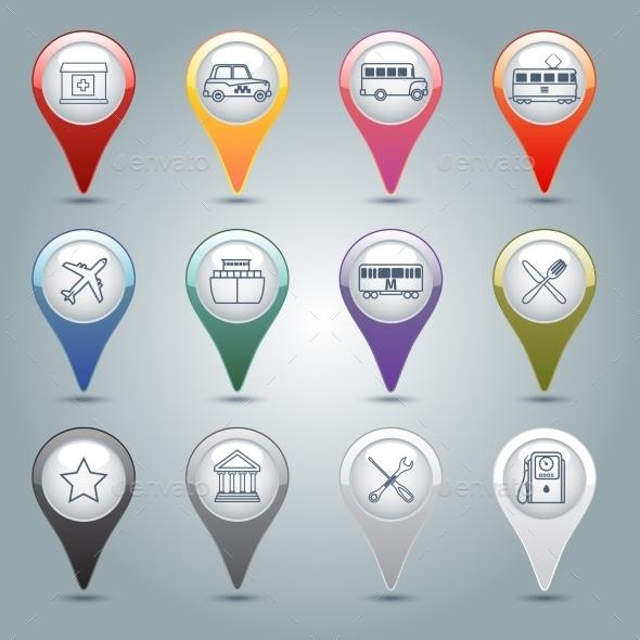 GPS Markers Set - Web Technology