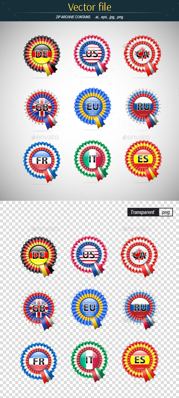 Badges with Flags - Objects Vectors