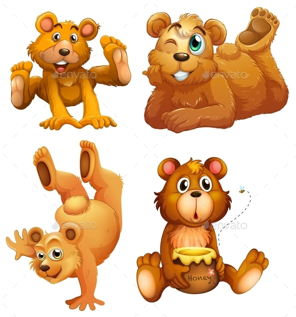 Four Playful Brown Bears - Animals Characters