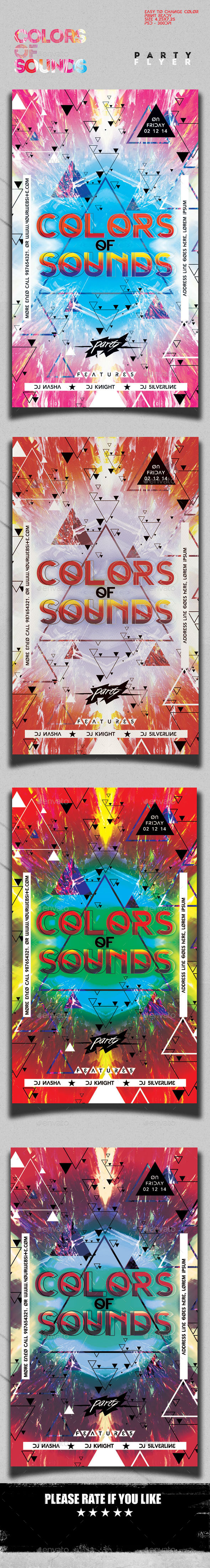 Colors of Sounds Flyer Template - Clubs & Parties Events