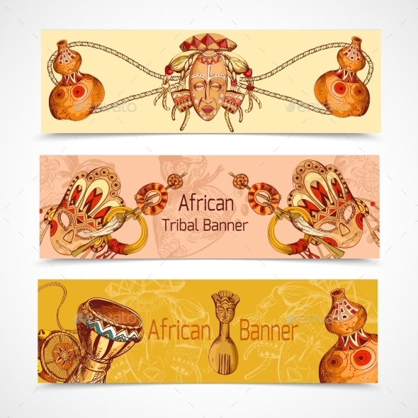 Africa Sketch Colored Banners  - Travel Conceptual