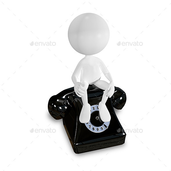 White Man on a Black Telephone - Characters 3D Renders