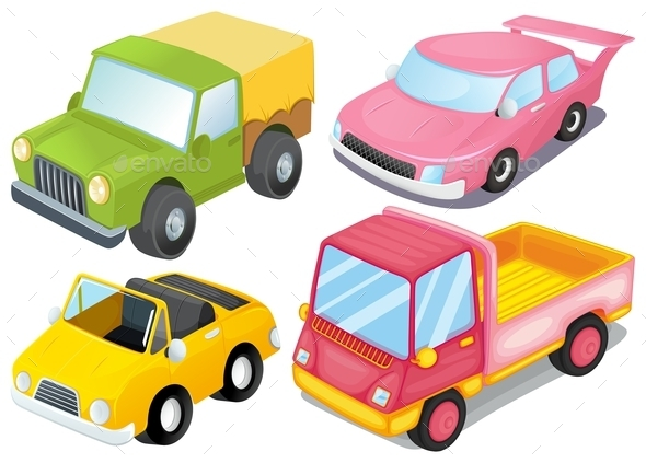 Four Different Kinds of Cars - Man-made Objects Objects