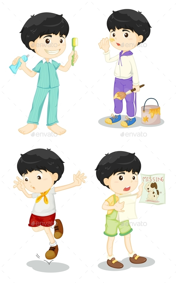 Boy in Four Poses - People Characters