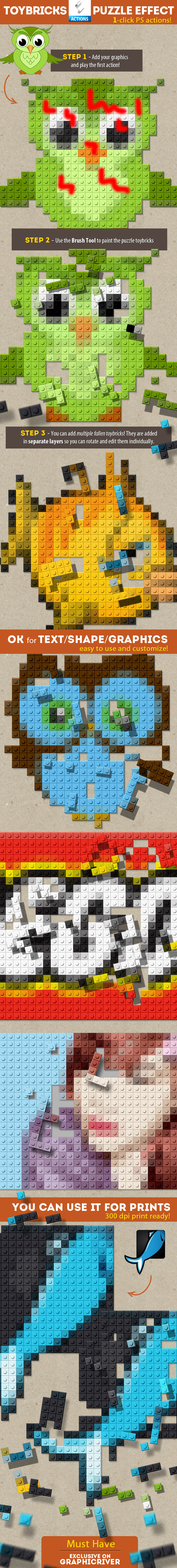 Lego Toy Bricks Puzzle Photoshop Actions - Utilities Actions