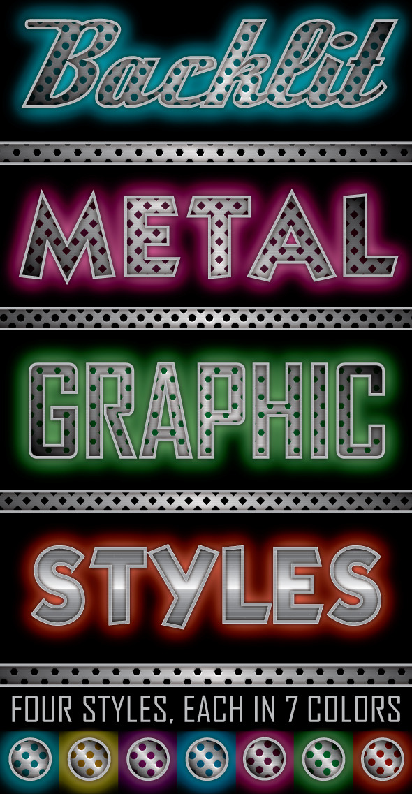 Backlit Metal Graphic Styles - Styles Illustrator