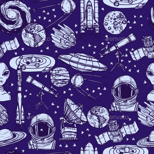 Space Sketch Seamless Pattern - Backgrounds Decorative