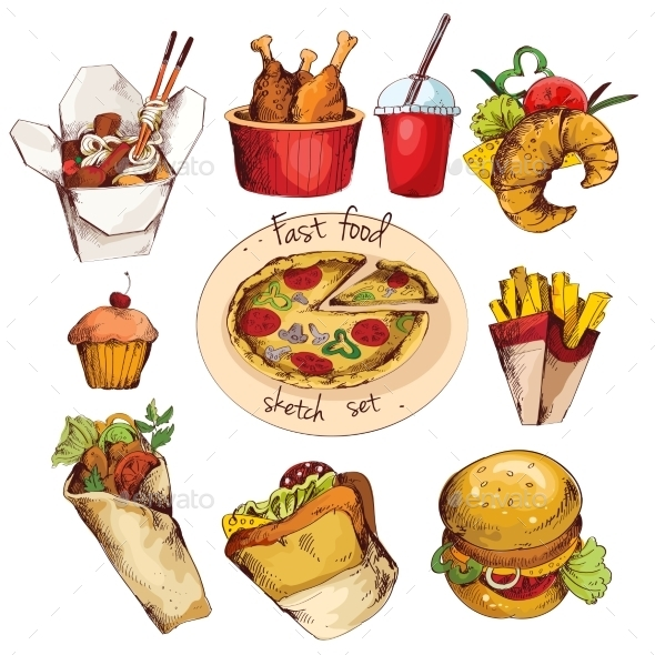 Fast food sketch set - Food Objects