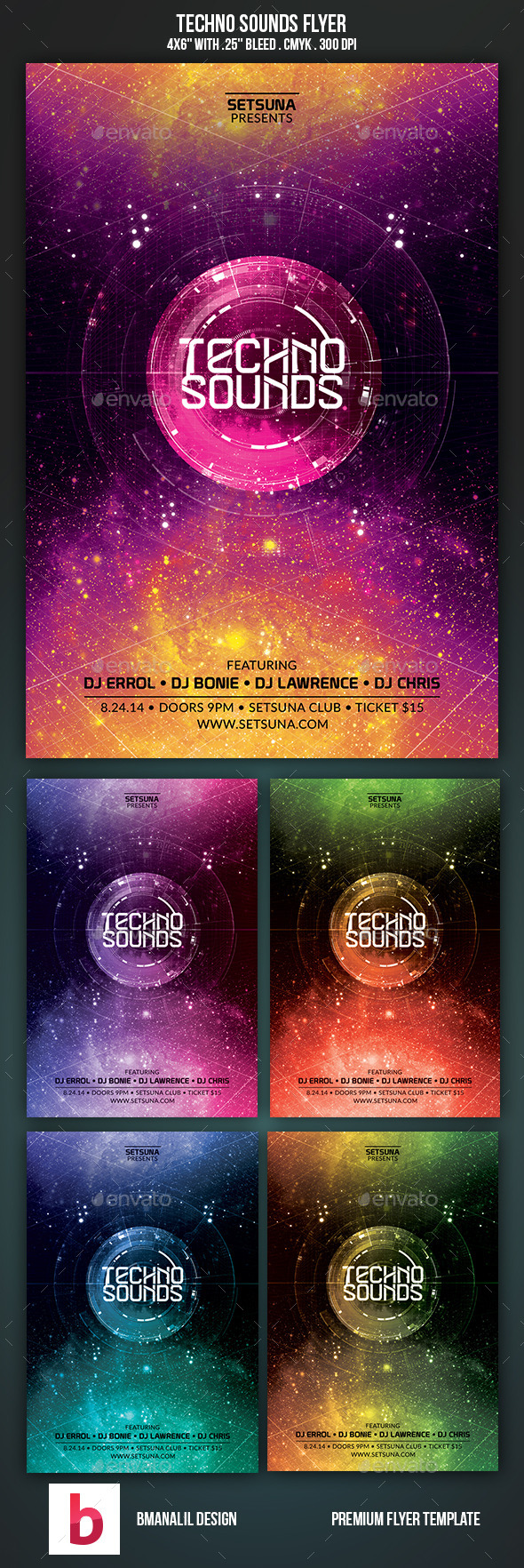 Techno Sounds Flyer - Clubs & Parties Events