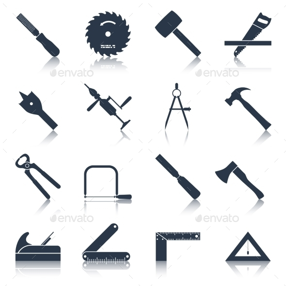 Carpentry Tools Icons Black - Man-made objects Objects