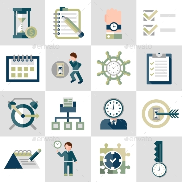 Time Management Icons Set - Web Elements Vectors