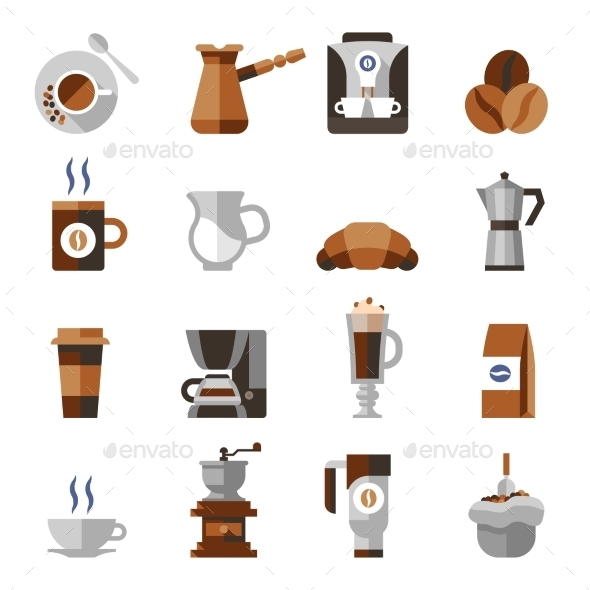 Coffee Icons Flat Set - Food Objects