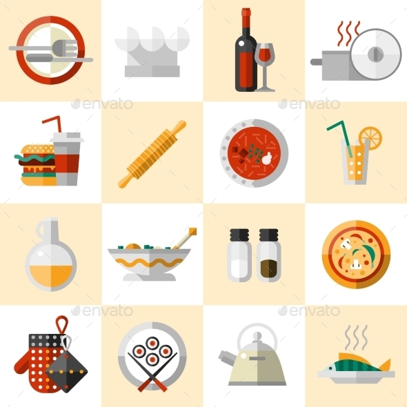 Cooking Food Icons Set - Food Objects
