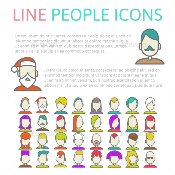 Set User Line Icons - People Characters