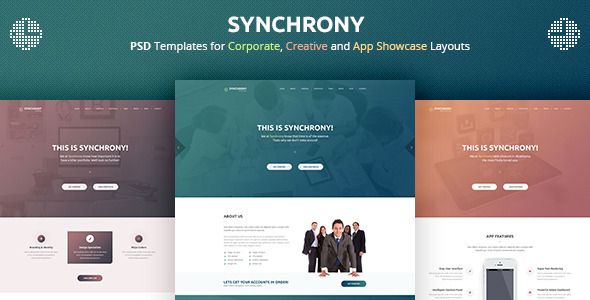 Synchrony - A Single-Page PSD Template - PSD Templates