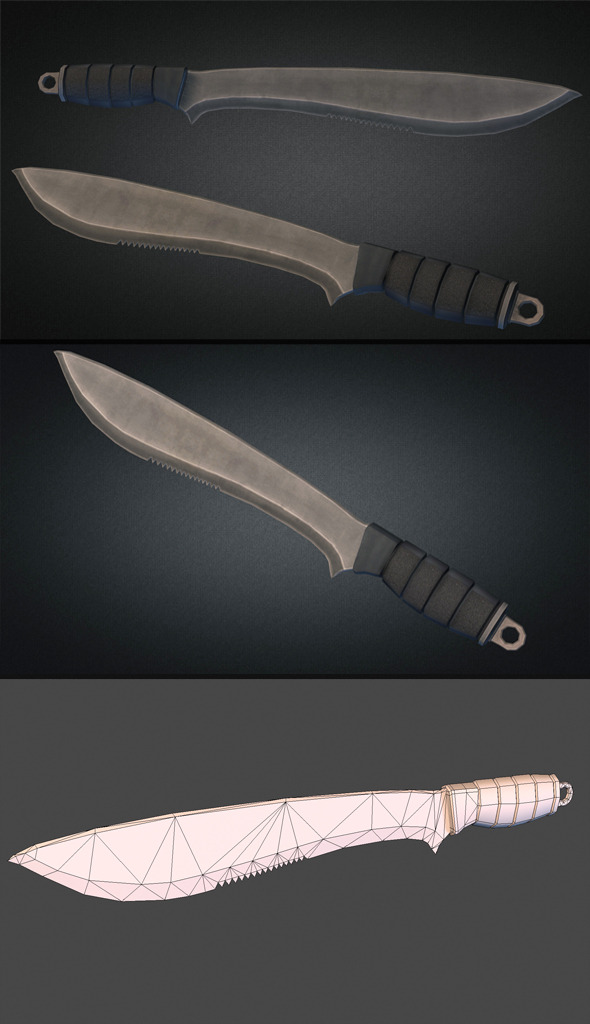 Machete Low Poly - 3DOcean Item for Sale
