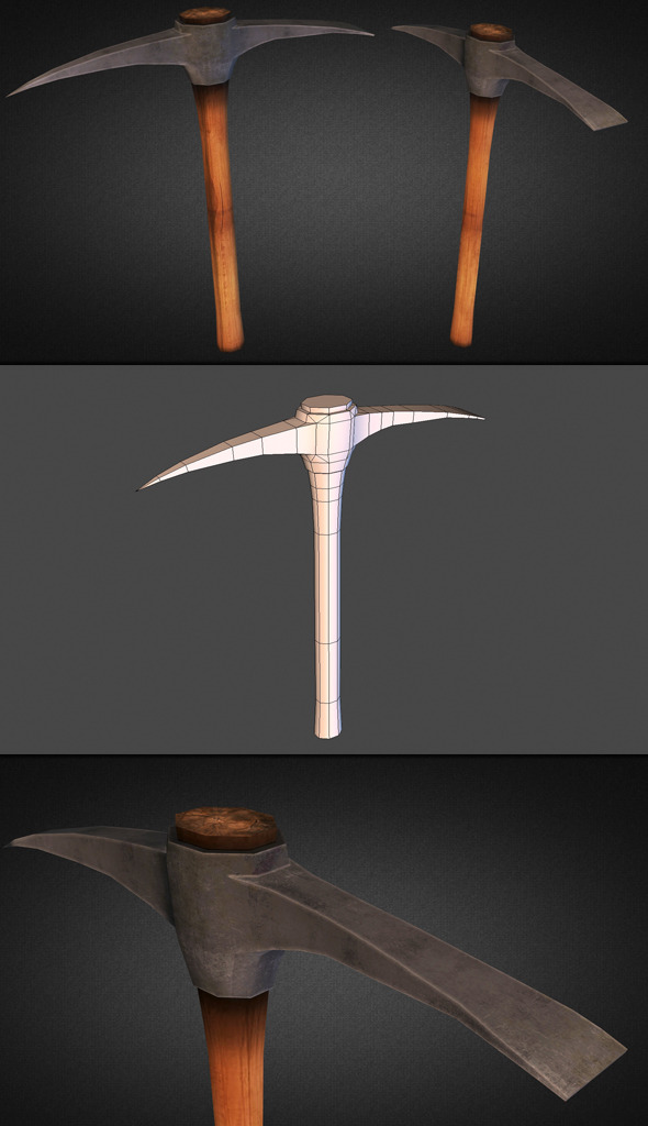 Pickaxe Low Poly - 3DOcean Item for Sale