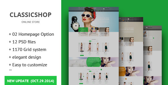 The Classic Shop – ecommerce PSD Template