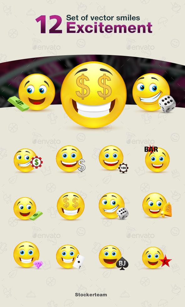 Smiles 12 Excitement - Characters Vectors