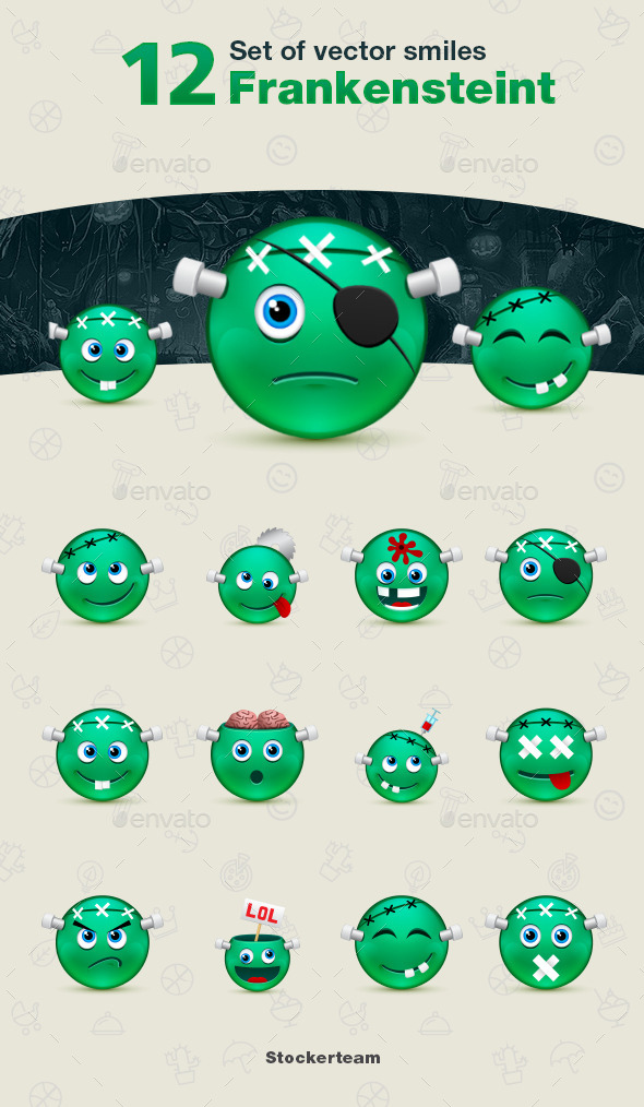 Set of Frankenstein Smiles - Characters Vectors