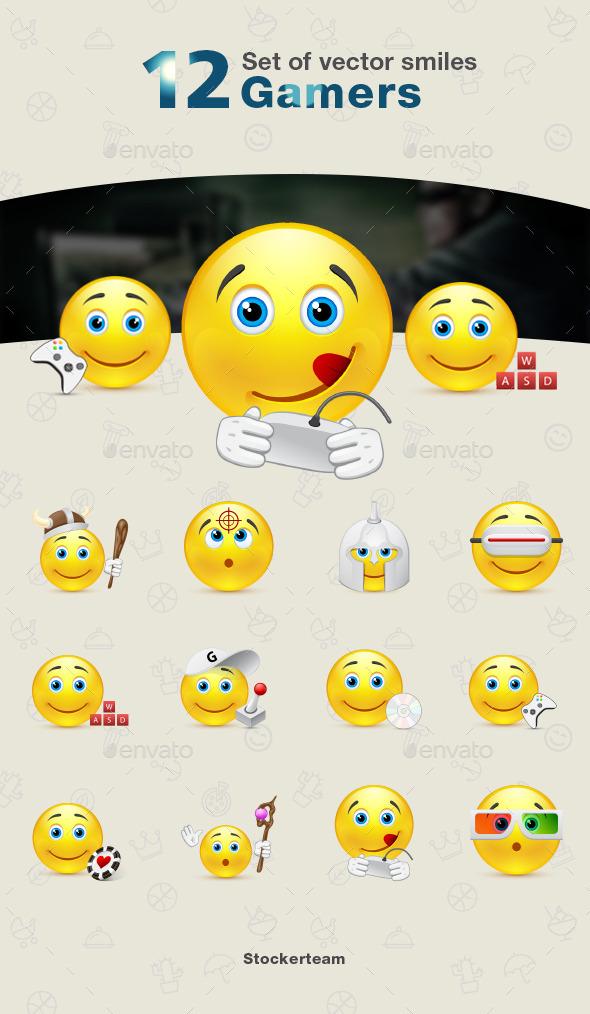 Set of Gamers Smiles - Characters Vectors