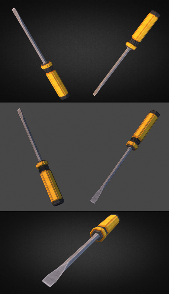 Screwdriver - 3D Low Poly - 3DOcean Item for Sale