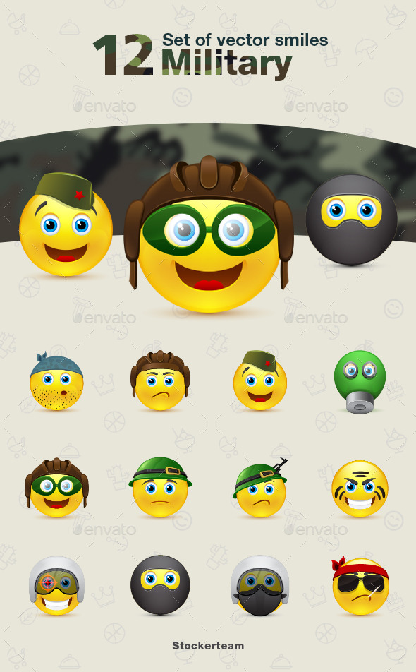 Smiles 12 Military - Characters Vectors