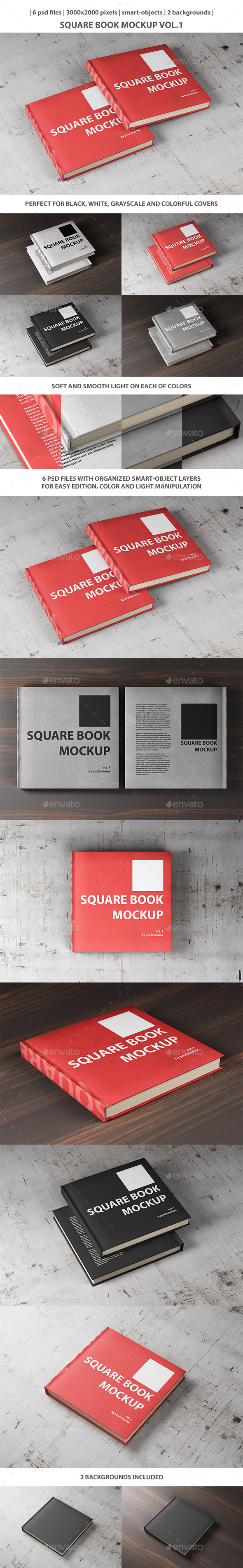 Square book mockup vol 1 by professorinc graphicriver square book mockup vol 1 books print reheart Gallery