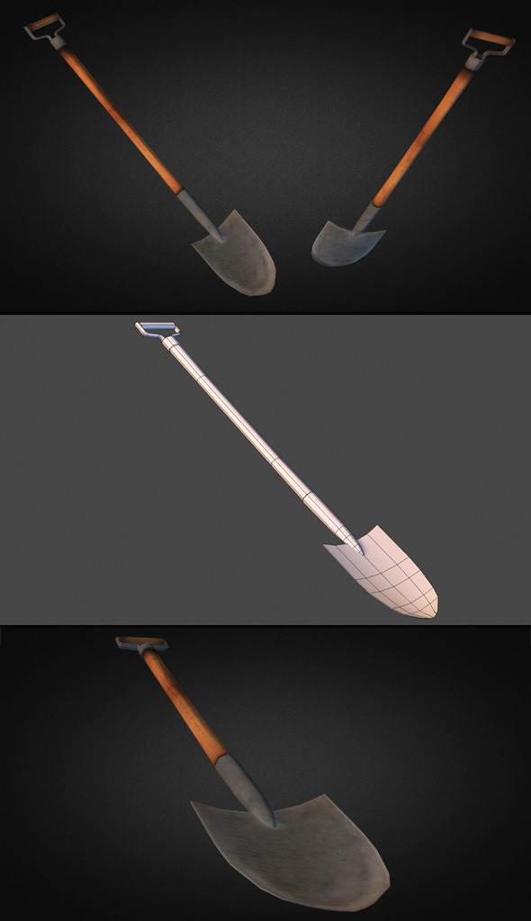 Shovel - Low Poly - 3DOcean Item for Sale