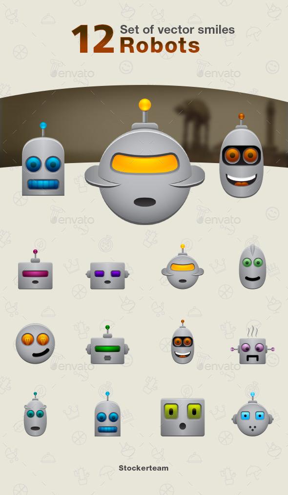 Set of Robot Icons - Characters Vectors