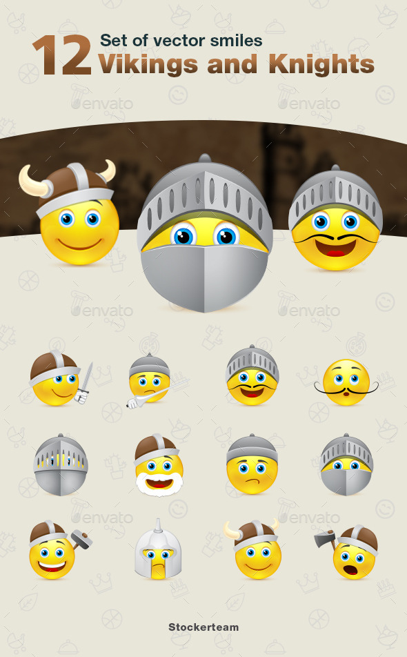 Set of Vikings and Knights Smiles - Characters Vectors