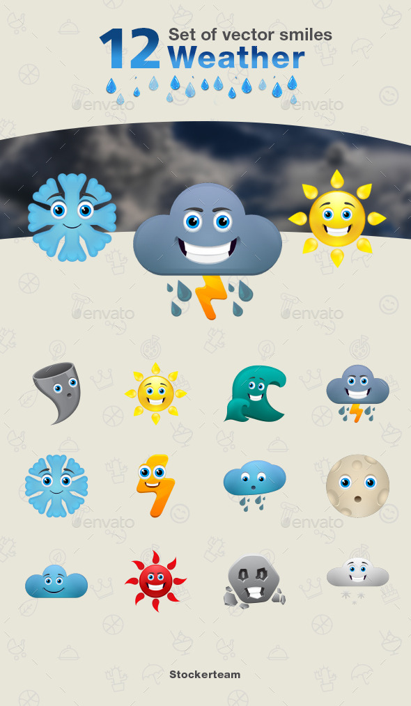 Set of Weather Icons - Characters Vectors