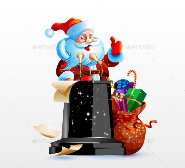 Santa Claus Standing Behind a Podium - Christmas Seasons/Holidays