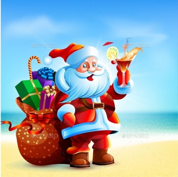 Santa Claus Holding a Cocktail - Christmas Seasons/Holidays