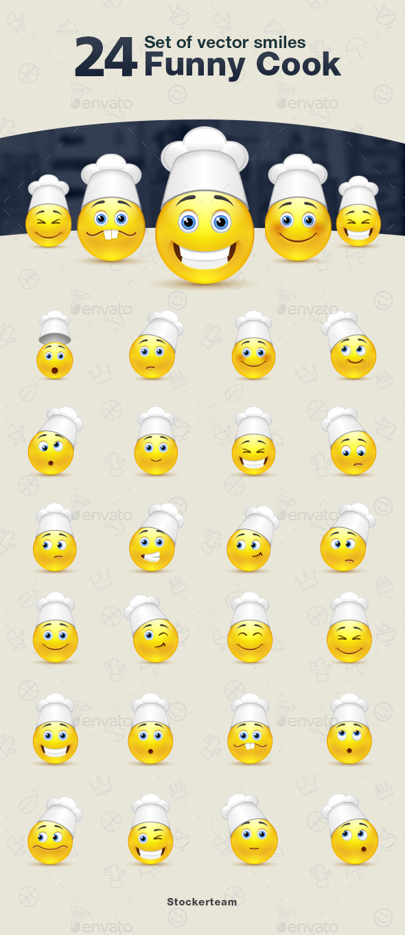 Smiles 24 Funny Cook - Characters Vectors