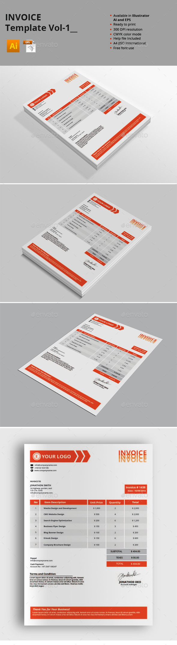 Invoice Templates Vol-1 - Proposals & Invoices Stationery