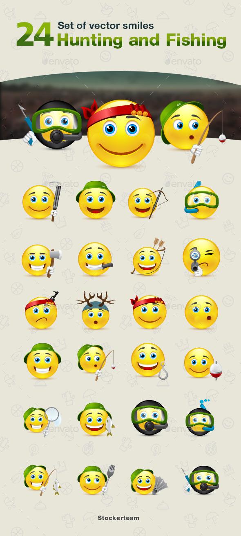 Smiles 24 Hunting and Fishing - Characters Vectors