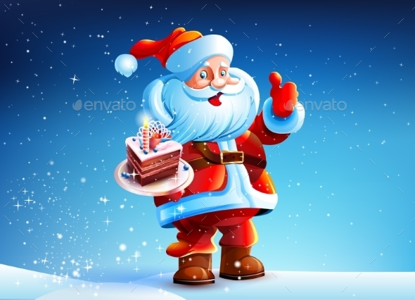 Cake in the hands of Santa Claus - Christmas Seasons/Holidays