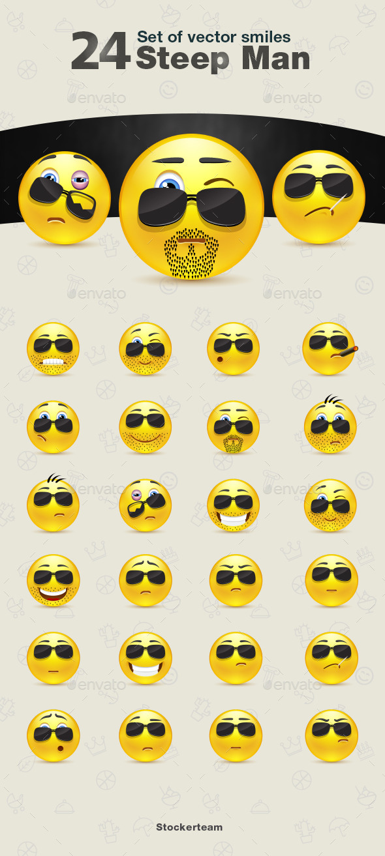 Set of Steep Man Smiles - Characters Vectors