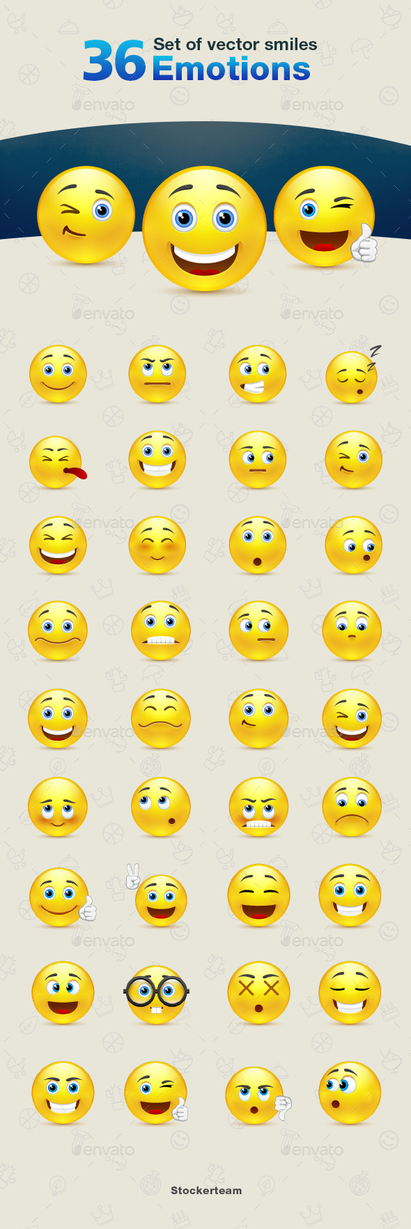 Set of Emotions Smiles - Miscellaneous Characters